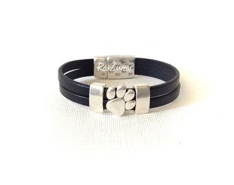 Paw print leather bracelet