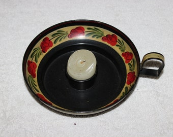 Early American Decorated Tin Candlestick Holder