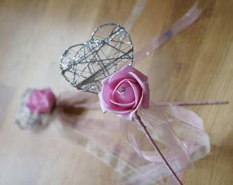 Wedding Flower Wand, Bridesmaid wand, Flowergirl, Wedding flowers, Bridal Accessories, Artificial flowers, Rose Wand MADE TO ORDER