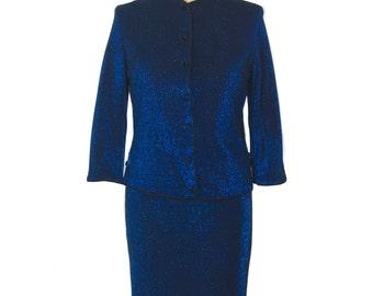 vintage 1960's blue lurex skirt set / Gibralter Casuals / sapphire metallic shimmer / skirt jacket / women's vintage suit / size medium