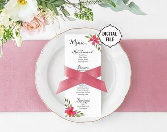 Flower wedding Menu, pink flowers, printable wedding menu, shabby chic menu, coral wedding menu, flower menu, wedding menu, diy menu, floral