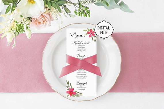 Flower wedding menu pink flowers printable wedding menu mightylinksfo Choice Image