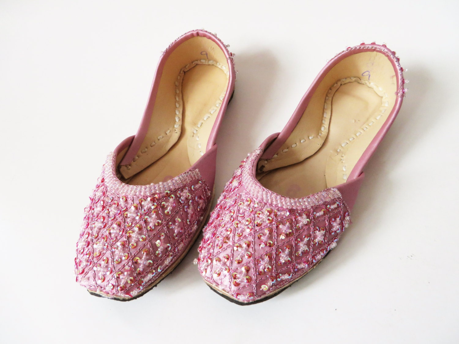 Pink Girls Khussa Shoes Indian Pakistan Shoes Beads