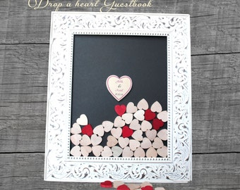 Drop box  guestbook wedding drop box guest book shabby chic  guestbook  Alternative guestbook frame Wedding guestbook  wood heart guestbook
