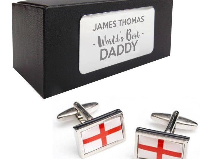 St Georges, England, English CUFFLINKS World's best dad, grandad, uncle, husband gift, presentation box PERSONALISED ENGRAVED plate - 082