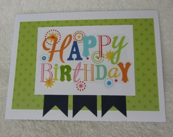 "Happy Birthday card, handmade card 5"" x 7"" includes envelope"