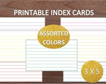 Assorted Colors Lined Printable Index Cards~3x5~Recipe Cards~School Supplies~Office Supplies~Digital Index Cards~Digital Download