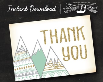 Adventure Thank You Card | Mountain Thank You Card | Instant Download Printable Digital File Card Mint Gold Gray