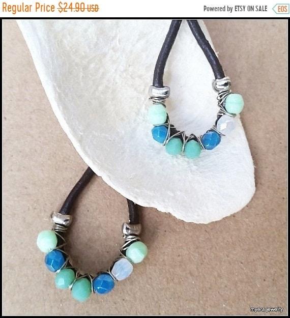 SALE Leather drop earrings, Chandelier Wire Earrings, Large Dangle Earrings, Big Womens Earrings, Blue Wire Earrings, Womens Mint Earrings
