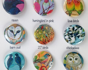 Bird Art Pin Back Button Flair, choose from 9 designs, 1.25 in, by Jenlo