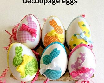 Easter bunny egg decor,decoupage eggs,decorated eggs, handmade Spring decor, hostess gift,farmhouse kitchen, Easter home decor, set of 6.