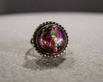 Vintage Sterling Silver Band Ring  Round Bezel Set Italian Venetian Murano Foiled Multi Colored, Size 7