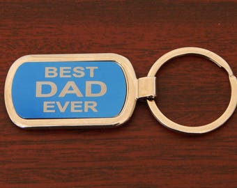 Dad Fathers Day Gifts - Father's Day Gift Ideas - Keychains - Keyrings Small Gifts for Dad - Best Dad Ever Key Chain from Son-Daughter.