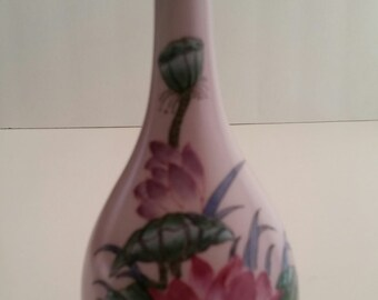Asian Floral Vase/Vase/Vintage Floral Vase/Floral Vase/Asian Decor/Asian Vase/decorative Vase