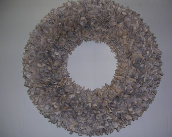 Vintage Sheet Music Upcycled Paper Aged Wreath Large 19""