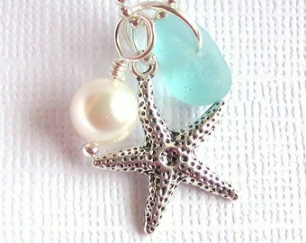 Genuine Sea Glass Jewelry Seafoam Sea Glass Necklace Starfish Charm Beach Jewelry Sea Glass Starfish Beach Wedding Jewelry
