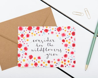 Bible Verse Card - Consider How The Wildflowers Grow - Luke 12:27 - Friendship / Just Because / Encouragement / A6 Watercolour Card