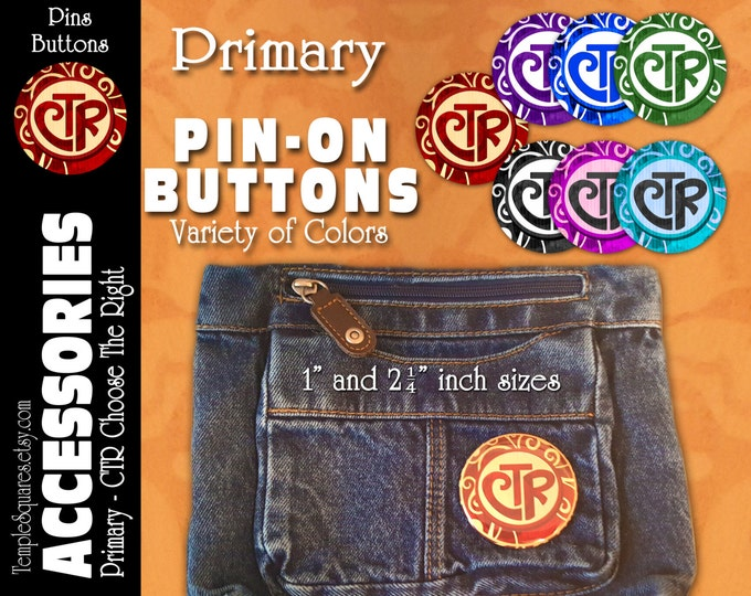 Primary CTR Choose The Right Pin-On Buttons Theme Birthday, Christmas, Missionary, Children, YW Youth Backpack Scripture Bag Pins