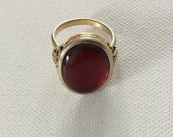 FINAL SALE  Vintage Red Statement Ring, Resin, Adjustable, oval, gold plated, patent number on back, Mother's Day