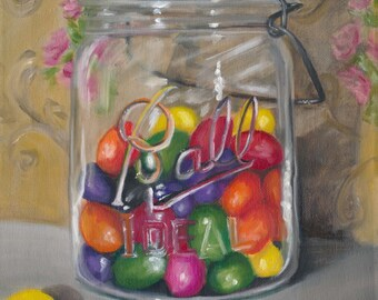 Jar of jellybeans, candy art, kitchen art, mason jar art, canning jar art, oil painting