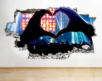C573 Heart Music Concert Band Gig Smashed Wall Decal 3D Art Stickers Vinyl Room[Medium (56x32)]