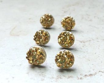 Set of 6 Yellow Gold Bridesmaids Earrings, 6 Pairs with Gift Boxes, Tiny Gold Faux Druzy Earrings, Small 8mm Round Studs Wedding Jewelry