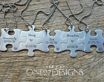 Personalized Hand Stamped  Puzzle PieceName And Date Necklace Bridesmaids Bridal Party Graduation Customizable Necklace Blended Family