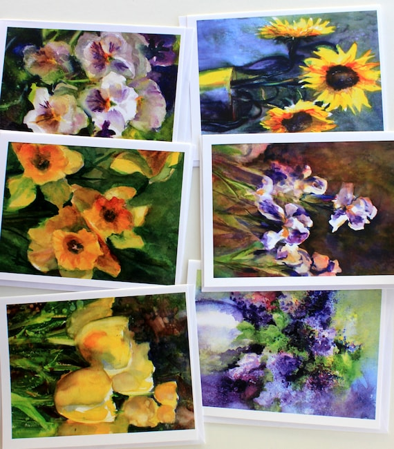 Spring Iris - note cards - blank cards - iris watercolor - tulips - lilacs - pansies - daffodils - Bonnie White art - watercolor cards