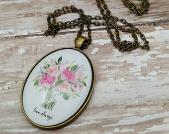 Love Always Flower Bouquet Pendant Necklace - Glass Dome Vintage Style Jewelry - Watercolor Rose Bunch Inspirational Jewelry Gift for Her -