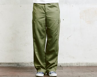 Mens Green Cargo Pants . Vintage Military Style Work Trousers Khaki Pants 90s Army Trousers Mens Cargo Pants Vintage Army Pants . size Large