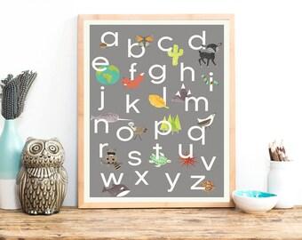Nature Alphabet Print, 18x24, Nursery Wall Art, Grey, Animal, Kid's Art Decor, Gender Neutral Nursery, ABC, Children