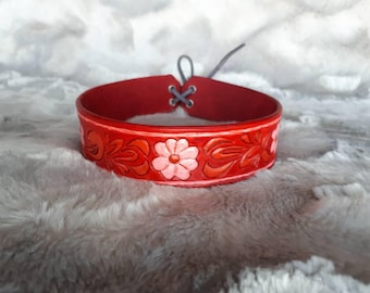 Hand Tooled Red Leather Floral Collar