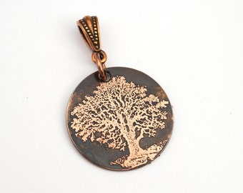 Handmade copper tree pendant, small round flat etched nature jewelry, optional necklace, 25mm