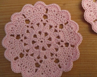 lot of 2 mini-napperons/coasters pink pale crochet diameter 8 cm