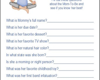 24 Personalized WHO KNOWS MOMMY Baby Shower Game