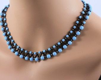 Turquoise Black Beadwork Chevron Net Choker Necklace Sterling Silver