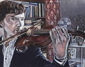 Sherlock Benedict Cumberbatch Acrylic Painting Art Print 11.7 x 16.5 inches