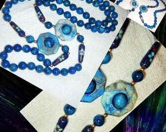 Blue Lapis Two Pendant Necklace