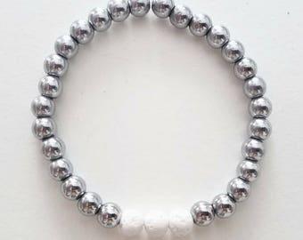 Silver Metallic Hematite Essential Oil Bracelet/6mm Gemstones/Beaded Bracelet/6mm/Essential Oils
