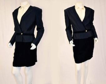 80's Gucci Black 2pc Skirt Suit