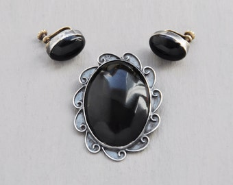 SALE! Vintage Sterling Silver Obsidian Jewelry Set - Mexican pin brooch screw back earrings - black stone oval cabochons - Taxco Mexico 925