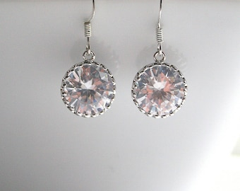 Silver or Gold, LARGE, cubic zirconia, bridal, earrings - KYLIE