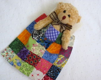 Burden Bear with handmade quilt and poem - plush jointed miniature teddy bear - Sentimental Comfort Gift