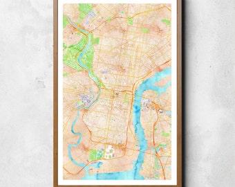 Map of Philadelphia, Philadelphia, Philadelphia art, Philadelphia map, Philadelphia print, Philadelphia Decor, Philadelphia Gift, Map Art