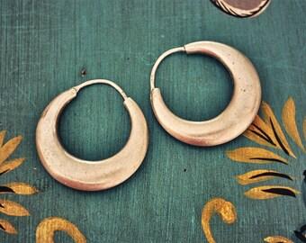 Ethnic Hoop Earrings - Medium - Sterling Silver Hoop Earrings - Tribal Hoop Earrings - India Hoop Earrings