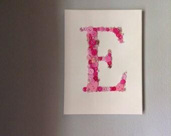 E Monogram Art, Button Art, Baby Girl Nursery, Emily, Elise, Elizabeth, Emma, Nursery Art, Baby Girl, New Baby