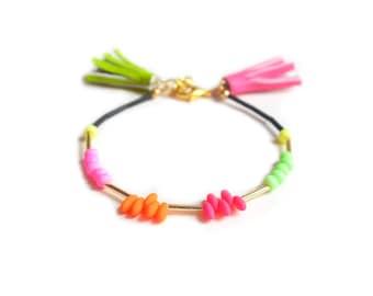 Neon Bracelet, Beaded Bracelet, Friendship Bracelet, Seed Bead Bracelet, Tassel Bracelet, Stacking Bracelet, Layering Bracelet