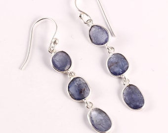 Tanzanite 92.5 sterling silver earring