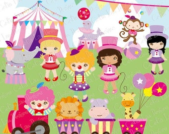Baby Girl Circus clipart, girls circus party clip art, Pink Circus Clipart ,baby girl shower clipart, ( CG063 ) / INSTANT DOWNLOAD