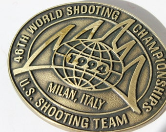 US Shooting Team Belt Buckle Milan Italy 46th World Shooting Championship